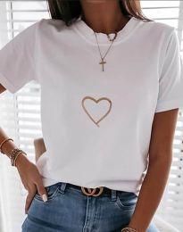 Дамска тениска в бяло - код 3701