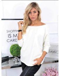 Блуза с пандела на гърба в бяло - код 749