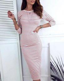 Дамска рокля на райе в цвят пудра - код 4081