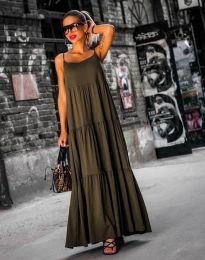 Свободна дълга рокля в масленозелено - код 2301