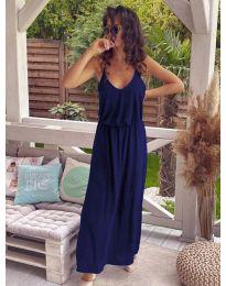 Дълга дамска рокля в тъмно синьо - код 635