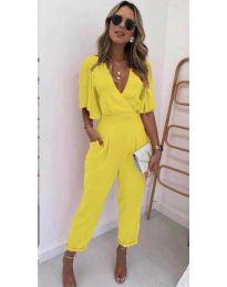 Стилен дамски гащеризон в жълт цвят - код 700