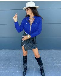 Дамско късо яке в тъмно синьо - код 7070