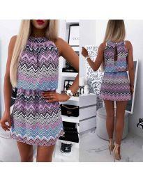 Дамска рокля със свеж десен в цвят лилаво  - код 3317