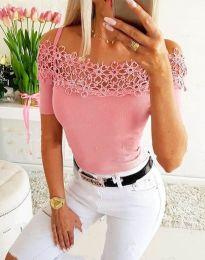 Атрактивна дамска тениска с дантела в розово - код 3912
