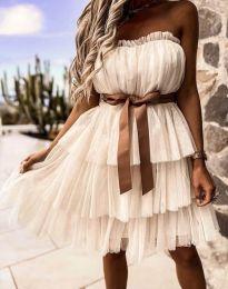 Кокетна дамска рокля в цвят шампанско с панделка - код 3065