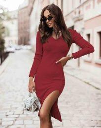 Изчистена дамска рокля в червено - код 6593