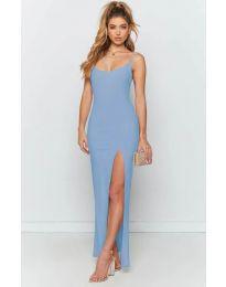Дълга рокля с цепка в светло синьо - код 715