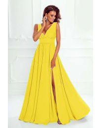Елегантна дълга рокля с цепка в жълто - код 636