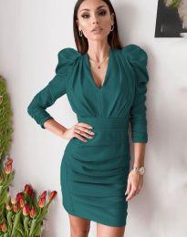 Дамска рокля в цвят тюркоаз - код 7937