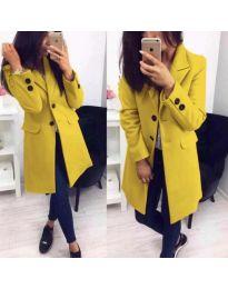 Стилно дамско палто в цвят горчица - код 943