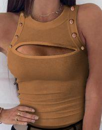 Дамски топ в цвят капучино с отворено деколте - код 5958