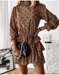 Дамска рокля в кафяво - код 3665