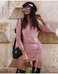 Дамска рокля в  розово - код 9545