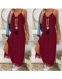 Дълга рокля с дантела в бордо - код 2575
