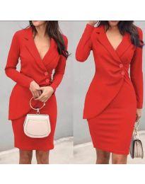 Елегантна рокля с имитация на сако в червено - код 540