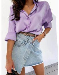 Изчистена дамска риза в лилаво - код 4646