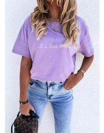 Дамска тениска с принт в лилаво - код 36755