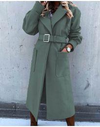 Дълго дамско палто с колан в маслено зелено - код 423
