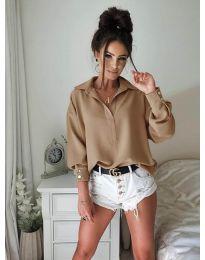 Елегантна риза в цвят капучино - 9898