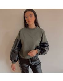 Атрактивна дамска блуза в маслено зелено - код 5171