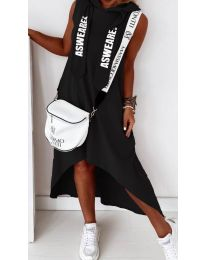 Свободна дамска рокля в черно - код 837