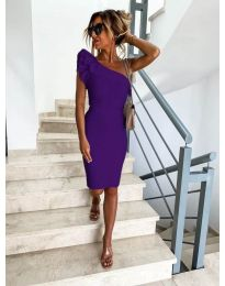 Елегантна рокля в тъмно лилаво с голо рамо - код 710