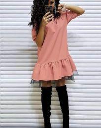 Дамска рокля в цвят праскова - код 2856