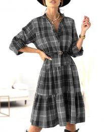 Карирана дамска рокля в черно - код 6842