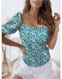 Блуза с флорален десен в зелено  - код 9897