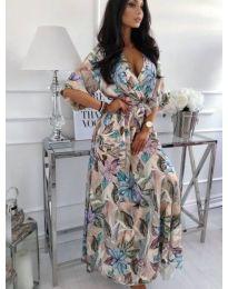 Ефектна дълга рокля на цветя - код 232