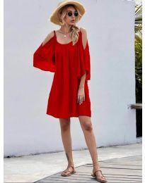 Свободна изчистена рокля в червено - код 3022