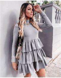 Свободна дамска рокля в сиво - код 2951