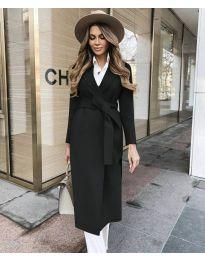 Дълго дамско палто с колан в черно - код 4941