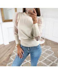 Блуза в бяло с тюлени ръкави - код 3460