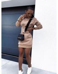 Дамска рокля с колан в бежово - код 165