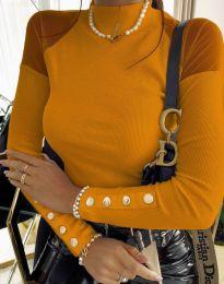 Дамска блуза с ефектни ръкави в цвят горчица - код 2771