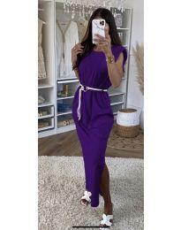 Дълга дамска рокля в тъмно лилаво - код 7049