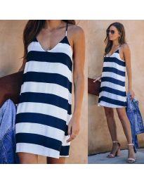 Свободна дамска рокля на райе в бяло и синьо - код 1047