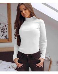 Дамска блуза с поло яка в бяло - код 6323