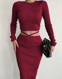 Ефектен дамски сет в цвят бордо - код 0683