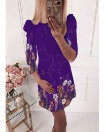 Елегантна рокля с флорални мотиви в тъмно лилаво - код 240