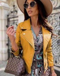 Елегантно дамско яке в цвят горчица - код 6354
