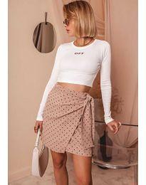 Къса дамска блуза в бяло - код 3095