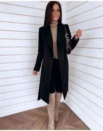 Дълго палто с колан в черно - код 346
