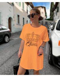 Рокля с принт в оранжево - код 2525