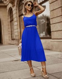 Кокетна плисирана рокля в синьо - код 1249