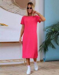 Изчистена дамска рокля в цвят циклама - код 81800