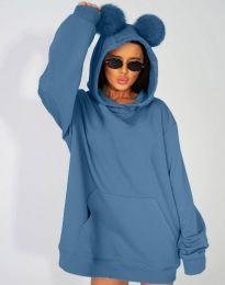 Ефектен дамски суитшърт в синьо - код 4917