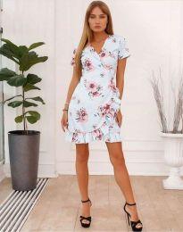 Кокетна рокля в светлосиньо с флорален десен - код 7171
